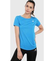 camiseta azul-gris new balance accelerate short sleeve v2