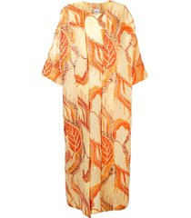 bambah isabella floral print kaftan and dress - orange