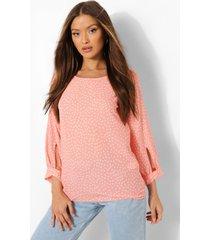 pastel blouse met stippen en mouwe strikjes, peach