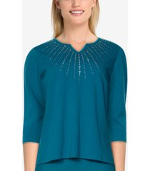 alfred dunner women's missy bryce canyon sunburst embroidered top