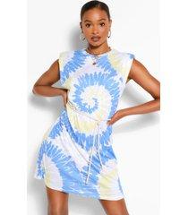 padded shoulder tie dye t-shirt dress, blue