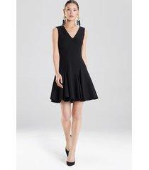 knit crepe flare dress, women's, black, size 6, josie natori