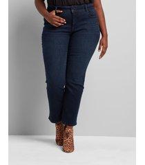 lane bryant women's tighter tummy fit high-rise straight jean - dark wash 12p dark denim