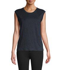 vince women's cap-sleeve linen muscle tee - optic white - size m