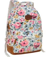 mochila urbana terios blanca flores head