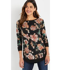 maurices womens haven cozy knit floral crew neck sweatshirt