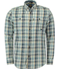 overhemd denim check blauw