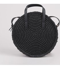 bolsa feminina de palha redonda transversal média preta