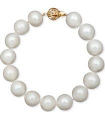 "belle de mer pearl bracelet, 7-1/2"" 14k gold a+ cultured freshwater pearl strand (11-13mm)"