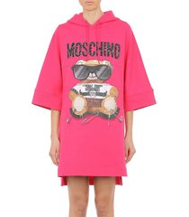 women's moschino teddy logo hooded high-low dress, size 14 us - pink