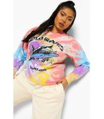 plus tie dye wild waves haaien sweater, multi