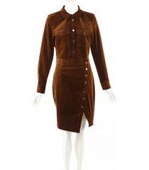 veronica beard britton cord brown shirt dress brown sz: l