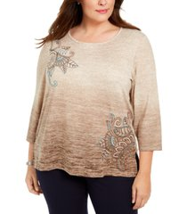 alfred dunner plus size walnut grove embroidered ombre knit top