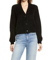 women's halogen rib cardigan, size xx-small - black