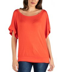24seven comfort apparel loose fit dolman top with wide sleeves