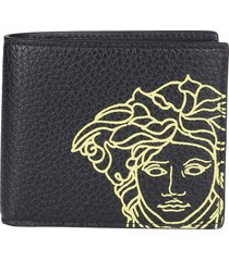 versace black leather medusa wallet