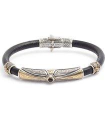 men's konstantino stavros leather bracelet with onyx