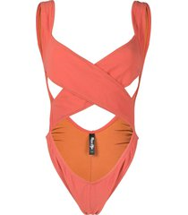 reina olga exotica cutout swimsuit - red