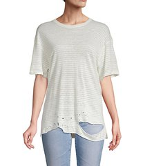 distressed linen-blend tee