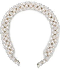 shrimps antonia faux-pearl embellished headband - neutrals