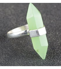 pencil shape faceted aqua chalcedony lab gems silver ring all size bjr-371-accl
