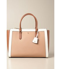 lauren ralph lauren handbag lauren ralph lauren handbag in two-tone saffiano leather