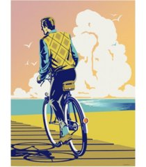 """david chestnutt beach bike canvas art - 15.5"""" x 21"""""""