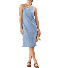 tommy bahama stretch chambray sleeveless midi dress, size 14 in light storm wash at nordstrom