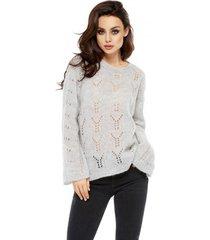 sweter ażurowy z moherem