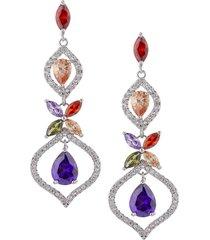 eye candy la women's 18k goldplated & multicolored crystal royal drop earrings