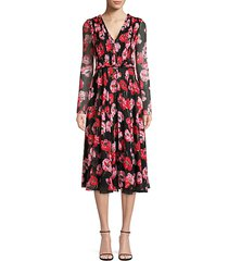 poppy-print crinkle silk chiffon day dress