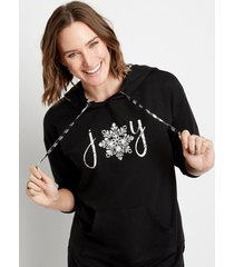 maurices womens solid black joy graphic pullover hoodie