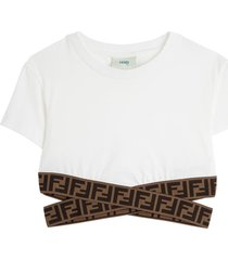 fendi white jersey crop top with ff elastic