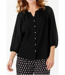 tommy bahama 3/4 sleeve button down top