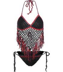 knit fishnet fringe bikini set