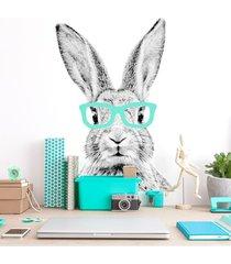 królik cz-b w miętowych okularach - naklejka