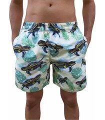 bermuda short tartaruga moda praia relaxado estampado
