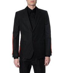 alexander mcqueen black cotton blazer with side stripes