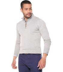 sweater gris 103 preppy m/l c/alto 1/2 cremallera t.delgado