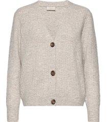 fqhill-s-car-rib stickad tröja cardigan beige free/quent