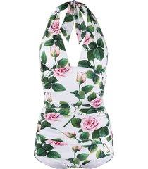 dolce & gabbana rose-print swimsuit - white
