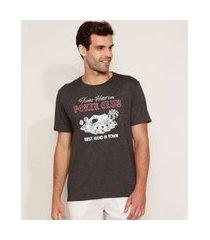 "camiseta masculina poker club"" manga curta gola careca cinza mescla escuro"""