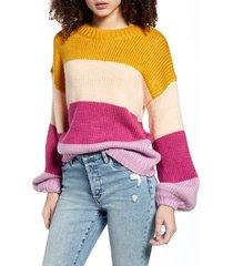 women's minkpink cozy up with me sweater, size medium - purple