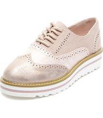 zapato oxford oro rosa chalada