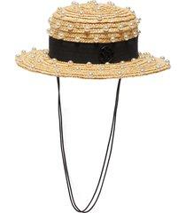 x lane crawford 'kiki' embellished straw mini fedora