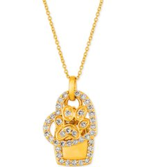 """le vian i love dogs collection nude diamond heart & paw dog tag 20"""" pendant necklace (7/8 ct. t.w.) in 14k gold"""