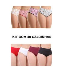 kit 40 calcinha isa lingerie calçola senhora multicolorido