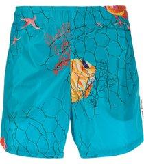 off-white fish print swim shorts - blue