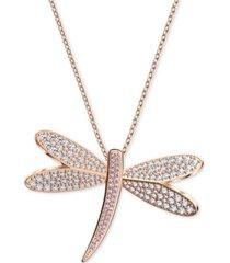 "swarovski rose gold-tone crystal dragonfly pendant 31-3/8"" long necklace"