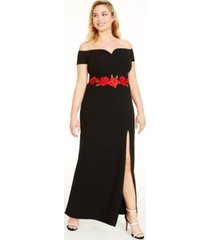 b darlin trendy plus size floral applique gown